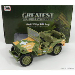 1941 Wwii Willys Mb Army Jeep Medic Camouflage 1:18 Diecast AWML005-12A
