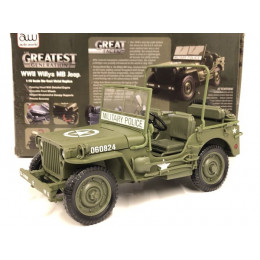 1941 WWII Willys MB Army Jeep 1:18 Diecast AWML001/12A