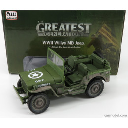 1941 Wwii Willys Mb Army Jeep (Dirty Version) 1:18 Diecast AWML005-12B